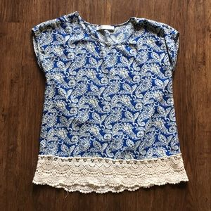 Blue and white shirt with crochet bottom